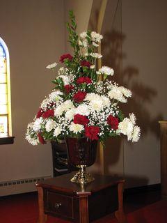 Floral arrangement in the sanctuary.