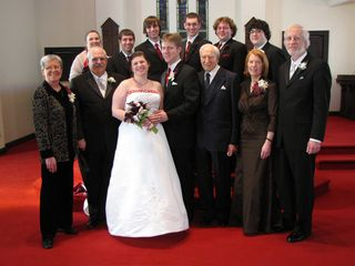 The wedding party with the families...