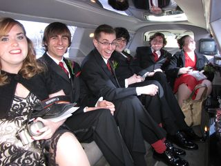 The wedding party in the limo.