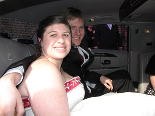Sis and Chris in the back of the limo, ready to ride to the reception.