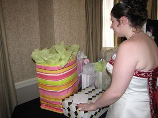 Checking out the wedding gifts...