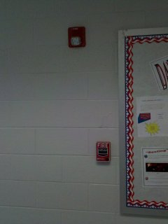 The original fire alarm at Stuarts Draft High School was a Simplex system, with Simplex-branded horns and Simplex-branded pull stations. This is what I remember from many fire drills in high school. This system was replaced during renovations with a newer system. Though I was unable to locate the new panel (the office was closed at the time), I saw that the new system used System Sensor horn/strobes and Fire-Lite BG-12 pull stations.