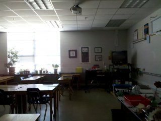 Room 63, formerly Room 27, was then and still is Mrs. Wampler's math classroom. Her room looks the same as it always did, right down to the old typing tables that she used as her desks.
