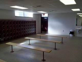 This is the old men's locker room in the gym. It looks very similar to how it did before, save for new finishes on everything as well as new lockers. I would dare say that this room probably looks better than it ever did, even when new.