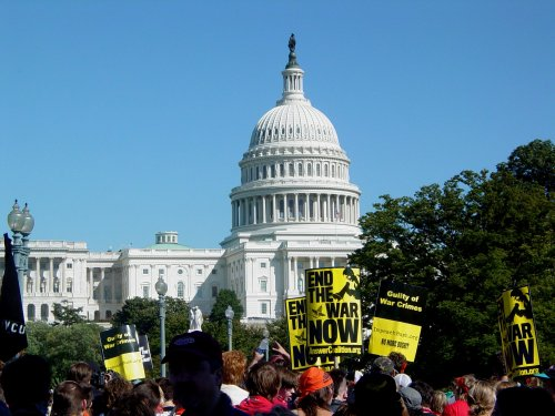 Anti-war protesters marching towards the United States Capitol on September 15, 2007.