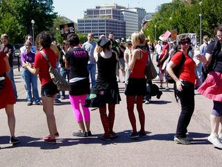 Later, everyone formed a circle in the middle of Pennsylvania Avenue.