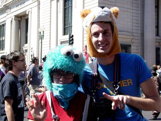 This was perhaps one of the coolest outfits we saw - a Cookie Monster hat!