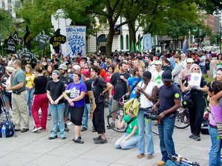 With the addition of the group from the anti-School of the Americas feeder march, Dupont Circle was absolutely filled with people.