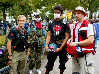 Street medics are a must at large protests, and these dedicated people are ready to step in to help in the event pepper spray or other crowd control agents are used, to help if anyone gets hurt, etc.