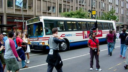 Our march stopped a Metrobus Flxible running on the 42 dead in its tracks, causing it to pull over while we passed.