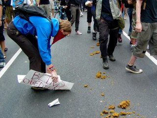 One person took their protest sign and actually scooped up some of the horse's droppings! I don't know what they ever ended up doing with it, but I think I can safely say that it probably wasn't pretty.