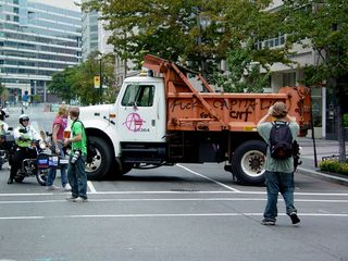 Two dump trucks were spray painted with anarchist symbols at 17th and H Streets NW.
