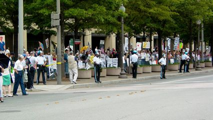 The Freepers lined the block in front of the FBI Building, counter-protesting.