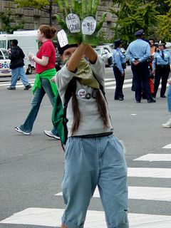 This person, wearing a green bandanna, wears gloves stating that the U.S. in Israel equals 9/11.