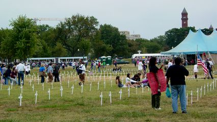Small wooden crosses in the ground near the Washington Monument represent those who have died in this war.