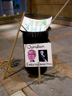 Outside Metro Center station, trash cans were overflowing with all sorts of stuff, including protest signs that had been hastily discarded.