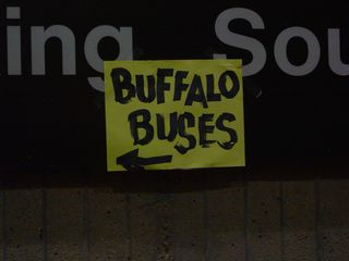"""Maybe it was due to the long, strenuous day, but I found this """"Buffalo Buses"""" sign posted at the entrance to the Vienna Metro station to be extremely funny."""