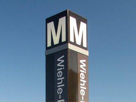 Station entrance pylon for Wiehle-Reston East station.