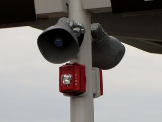 Two SpectrAlert Advance strobes with two Atlas Sound speakers.