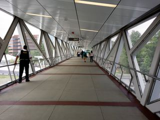 Pedestrian bridges over the Dulles Toll Road at Wiehle-Reston East.