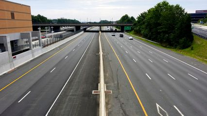 View from the pedestrian bridge over the eastbound lanes of the Dulles Toll Road.