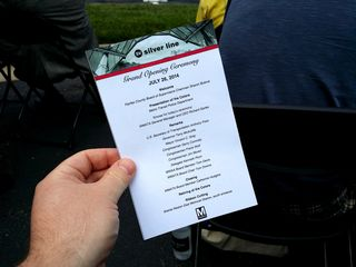 The program for the Silver Line opening ceremony.