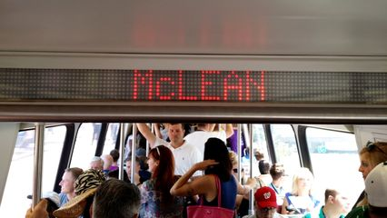 """Next station: McLean. Note the lowercase """"C"""" in """"McLean"""", which is unusual for the interior displays."""