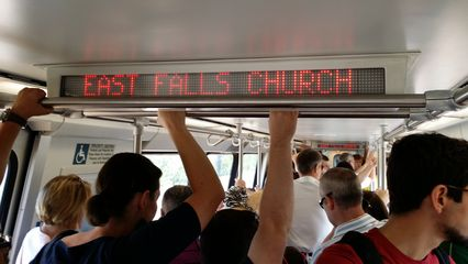 Next station: East Falls Church! This was the first time that a train would arrive at East Falls Church and treat it in its new role as a transfer station.