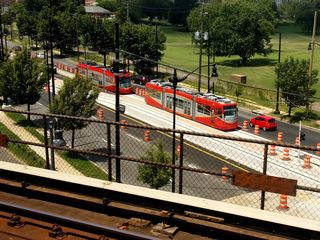 On the bridge east of Stadium-Armory, we spotted streetcars being tested on Benning Road. Seemed fitting to see that.