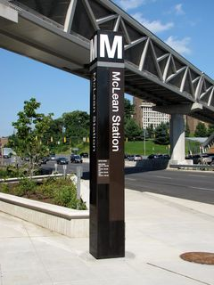 Station entrance pylon at McLean.