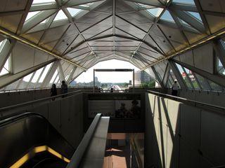 Canopy over the mezzanine and platform at Greensboro.