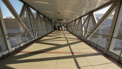 Pedestrian bridge over the westbound lanes of the Dulles Toll Road at Wiehle.