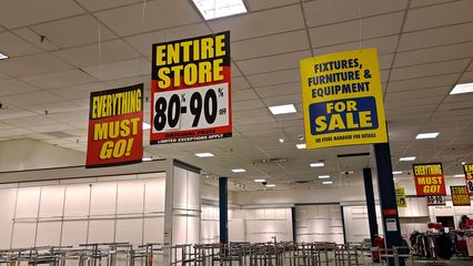 These photos were taken of the JCPenney store during the last few days of the closing sale, on October 14, 2020. The Staunton location was relatively small, and always looked a bit different than what most people probably think of when they imagine JCPenney, probably because of its age. The store was longer and narrower than most locations, and had a much higher ceiling.