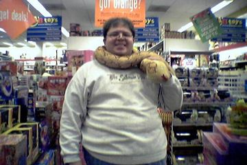 Photos taken inside the KB Toys store while it was still in operation, on December 1, 2004. On this occasion, Katie Shapiro (remember her?) and I posed with some plush snakes.
