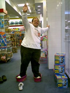 """Photos taken at KB Toys on May 7, 2007. On this occasion, Katie and I tried out the """"moon shoes"""" that the store was selling. We didn't buy, but they were rather amusing to take for a quick spin."""