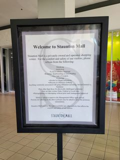 Signage at the center entrance to Staunton Mall.
