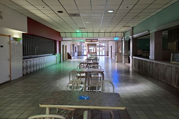 The movie theater corridor, containing two restaurants, a video arcade, and the movie theater.