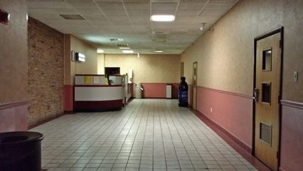 The lobby of the theater on August 30, 2014, about four years after Regal closed, and three years before Legacy Theaters opened.