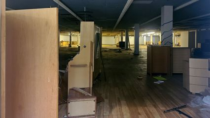 Interior of the former Wards store, viewed through the south entrance. The appearance that it has here comes mostly from the Steve & Barry's days.