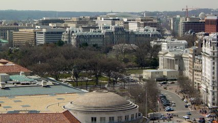 Looking past Freedom Plaza, one can get a glimpse of the Treasury Department, the White House, and the Old Executive Office Building. What struck me most about this picture was the massive size of the Old Executive Office Building, which is not easily noticed from the street.