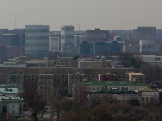 Off in the distance, the high rises of Rosslyn can be seen.