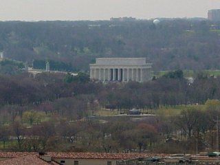 The Lincoln Memorial can be seen in the distance as well.