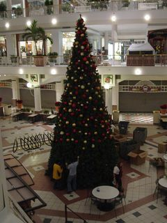 At Pentagon City Mall, the end of the Christmas season came on January 4, as workers removed the large Christmas tree from the mall's center court.