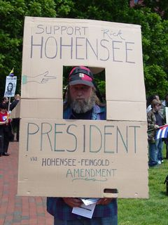 At Lafayette Park, after the ANSWER group had arrived, I ran into Rick Hohensee, who was allegedly running for president.