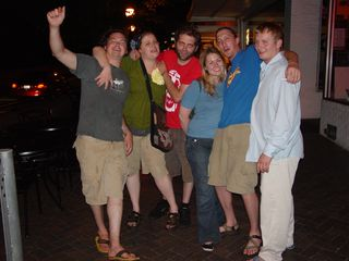 On July 2, a Sunday night, I photographed in the Corner District of Charlottesville. It was fairly quiet, but there were still some UVA students out and about. This group posed for a photo. Based on how many of them were acting, I'd guess that they'd had a few drinks while they were out.