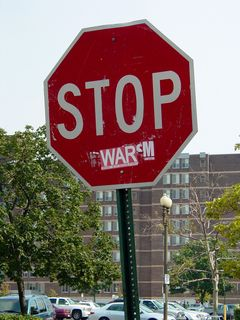 """I also found this stop sign, where a sticker turned it into a message: """"STOP WAR""""."""