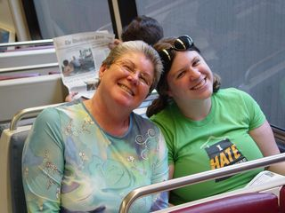 On August 1, I took my regular DC trip with Mom and Sis in tow. Here, they struck a pose on the Metro at Vienna.