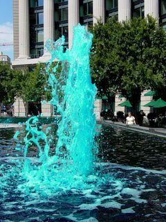 On August 17, I went past the Navy Memorial in DC, and found out that the water was blue in order to get rid of algae growth. DCist called it the Ty-D-Bol Memorial.