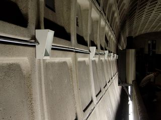 On my August 30 trip, I first noticed this installation on the sides of Pentagon City station. It turned out that this was the first part of the installation of a new sound system in the station.