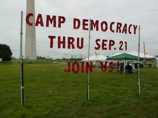 On September 12, I visited Camp Democracy in DC. Camp Democracy, operated by a number of DC anti-war groups, including DAWN, was basically a DC extension of Camp Casey, which Cindy Sheehan had founded in Crawford, Texas in 2005. Due to other commitments, however, Sheehan herself was unable to make an appearance at Camp Democracy.